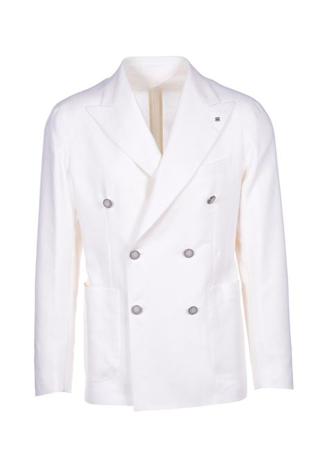 Double breasted cotton and linen jacket - white TAGLIATORE | Blazers | 1SMC20K 34UEZ241X1405