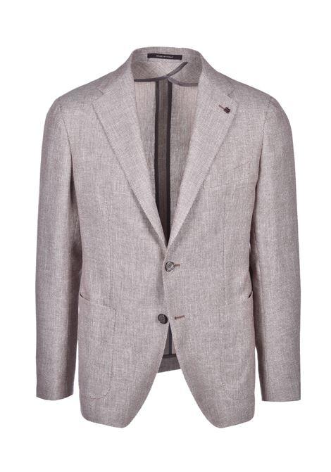 Classic two-button blazer in mixed linen - beige TAGLIATORE | Blazers | 1SMC22K 77UEG176T1286
