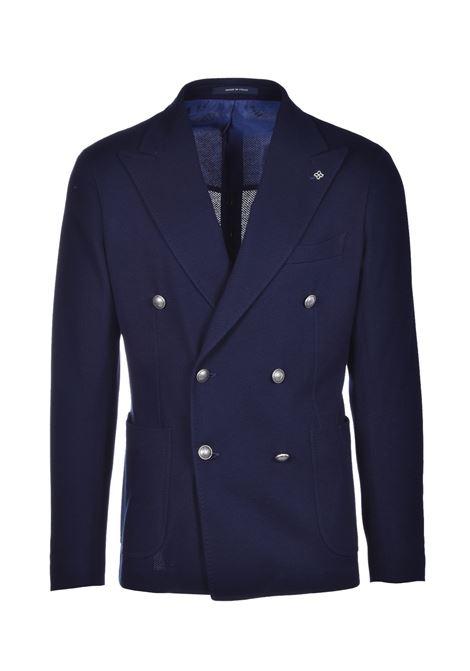 giacca doppio petto in jersey di cotone - blu TAGLIATORE | Giacche | 1SMJ20K 57UEJ157B1156