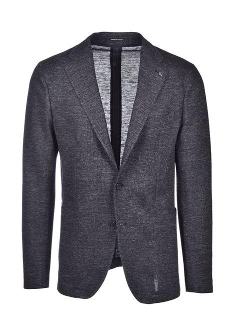 Classic cotton and  linen blazer - dark grey  TAGLIATORE | Blazers | G-DAKAR22K/J 57UEJ156N1461
