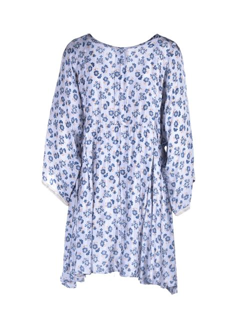 Oversized satin dress with blue floral print ALESSIA SANTI |  | 15049119088-02