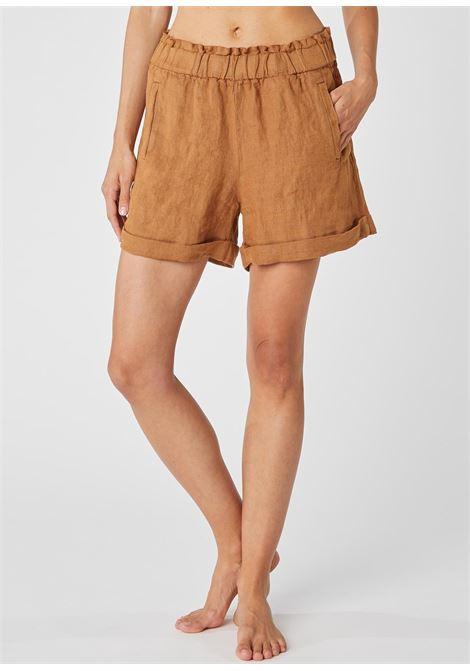 Tobacco linen short trousers ALESSIA SANTI | Shorts | 25055S2394