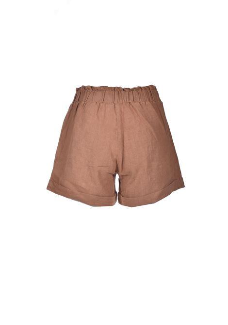 Pantalone corto in lino tabacco ALESSIA SANTI | Shorts | 25055S2394