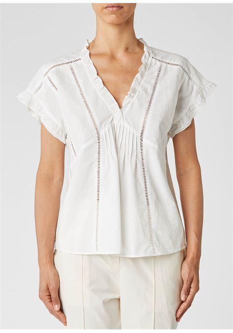 Casacca in cotone e lino bianco con rouches ALESSIA SANTI | Camicie | 45022S2128