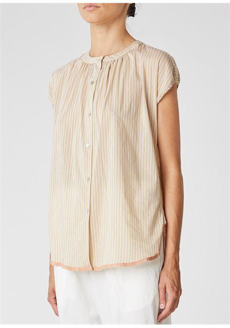 Crewneck blouse in beige striped cotton muslin ALESSIA SANTI | Blouses | 45049119089-01