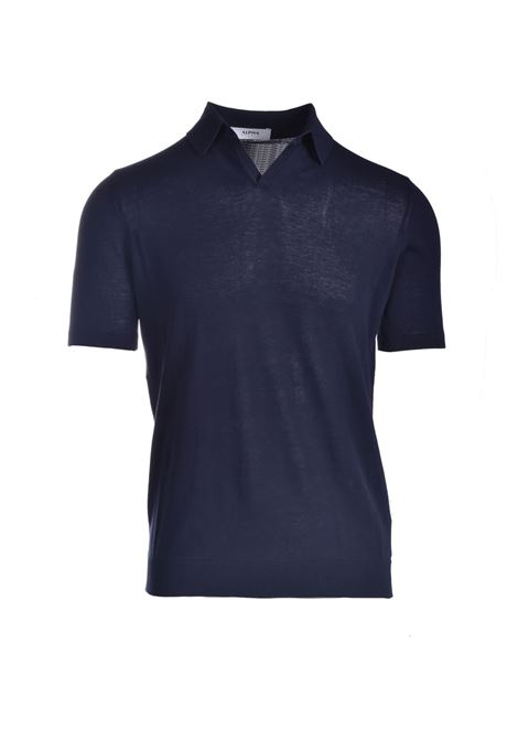 Polo in crepe di cotone pima blu notte ALPHA STUDIO | Polo | AU 4021/BS1027