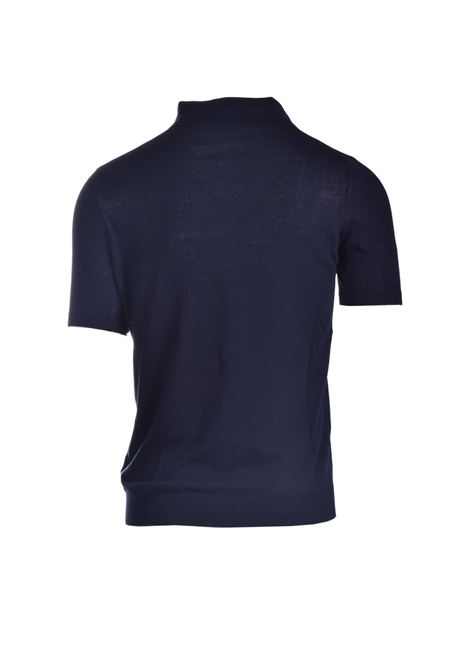 Midnight blue pima cotton crepe polo shirt ALPHA STUDIO | Polo Shirt | AU 4021/BS1027