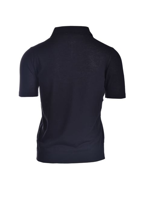 Black pima cotton crepe polo shirt ALPHA STUDIO | Polo Shirt | AU 4021/BS1028