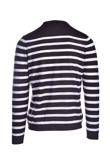 Horizontal striped linen crewneck ALPHA STUDIO | Knitwear | AU 4310/C1122