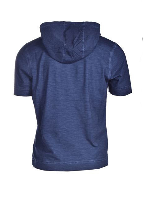 Midnight blue slub cotton jersey hooded T-shirt ALPHA STUDIO | T-shirt | AU 4432/CS1235