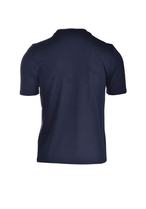Midnight blue silk and cotton jersey T-shirt ALPHA STUDIO | T-shirt | AU 4450/C1253