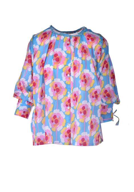 Oversized cotton voile blouse with flowers ANTIK BATIK | Blouses | FLOW1BLOBLUE