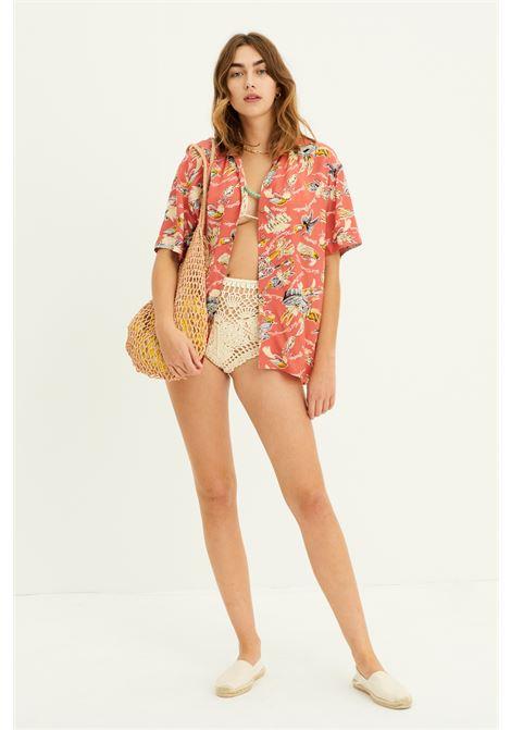 Camicia oversize in tessuto naturale con stampa ANTIK BATIK | Bluse | HILO1BLORED