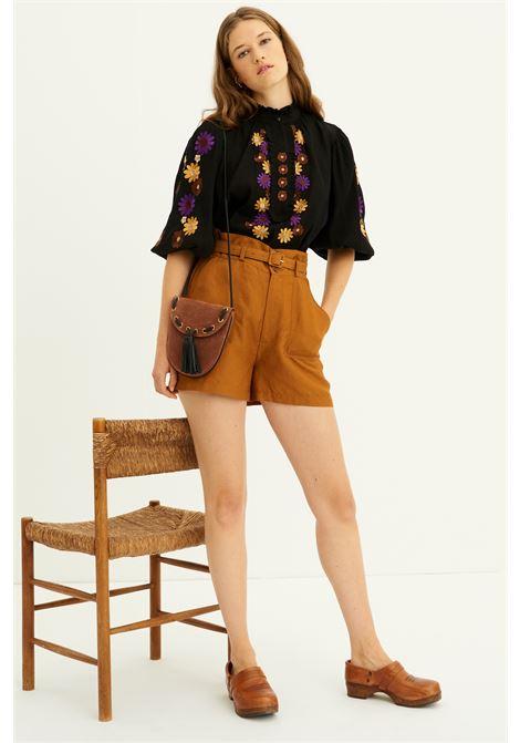 Borsetta a tracolla in camoscio marrone con nappine ANTIK BATIK | Borse | HORY1SMBBROWN