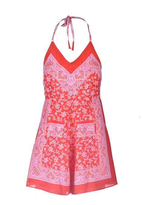 Tuta corta in seta stampata rossa ANTIK BATIK | Tute & Jumpsuit | ILONI1JUMRED