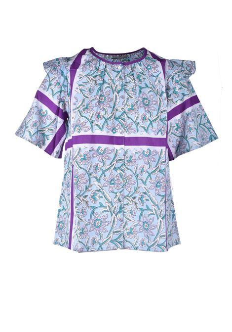 Blusa over in voile di cotone stampato in blu ANTIK BATIK | Bluse | MARIUS1BLOLIGHTBLUE