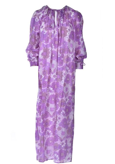 Maxi dress in cotton voile with floral print ANTIK BATIK |  | PAULA1DRELIGHT PURPLE