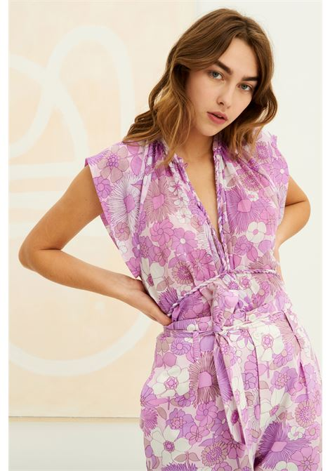 Top in voile di cotone con stampa floreale ANTIK BATIK | Top & T-shirt | PAULA1TEELIGHT PURPLE