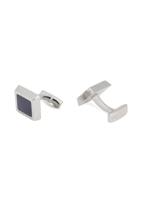Square logo-engraved cufflinks with coloured-enamel core BOSS | Cufflinks | 50239922410