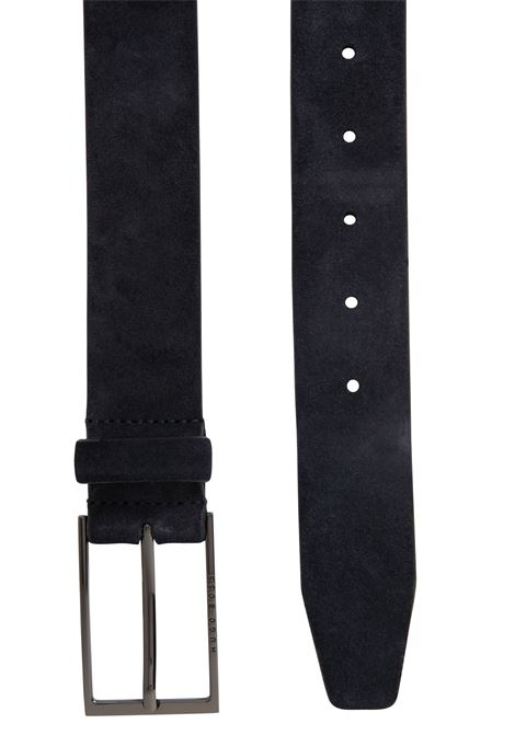 Blue suede leather belt with gunmetal-colored buckle BOSS | Belts | 50375225402