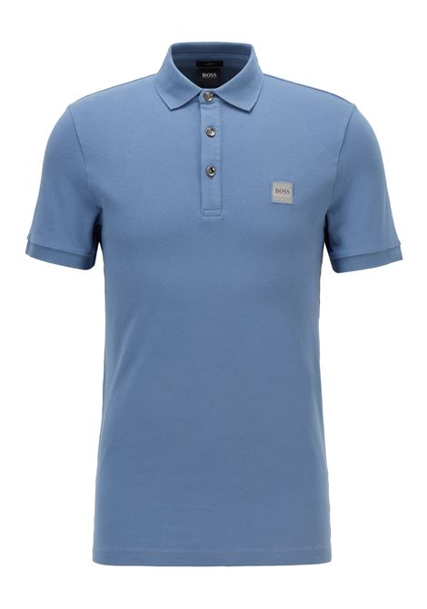 Slim fit polo shirt in washed piqué with logo application BOSS | Polo Shirt | 50378334489