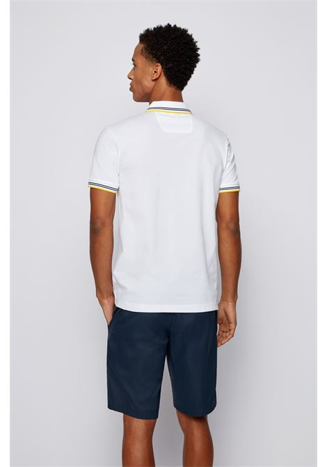 Slim fit polo shirt in stretch piqué with curved logo BOSS | Polo Shirt | 50412675113