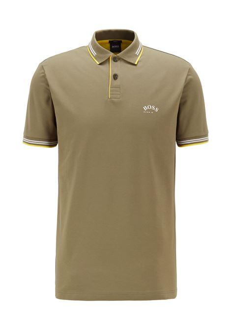 Polo slim fit in piqué elasticizzato con logo curvo BOSS | Polo | 50412675315