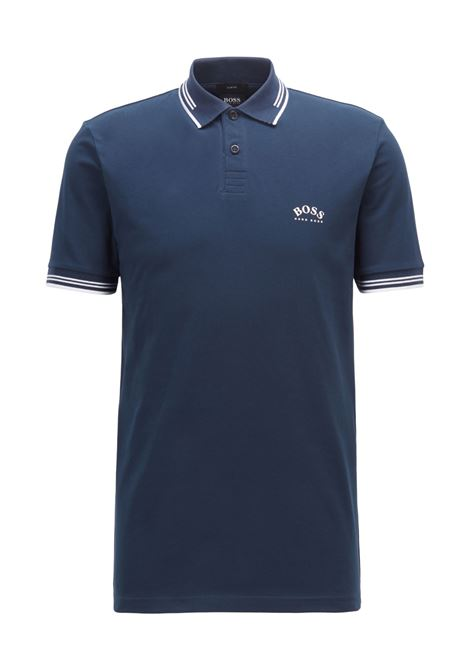 Slim fit polo shirt in stretch piqué with curved logo BOSS   Polo Shirt   50412675427