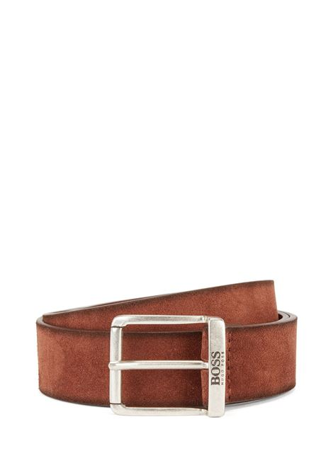 Suede leather belt with faded effect and antiqued metal details BOSS | Belts | 50419390224