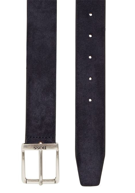 Suede leather belt with faded effect and antiqued metal details BOSS | Belts | 50419390404