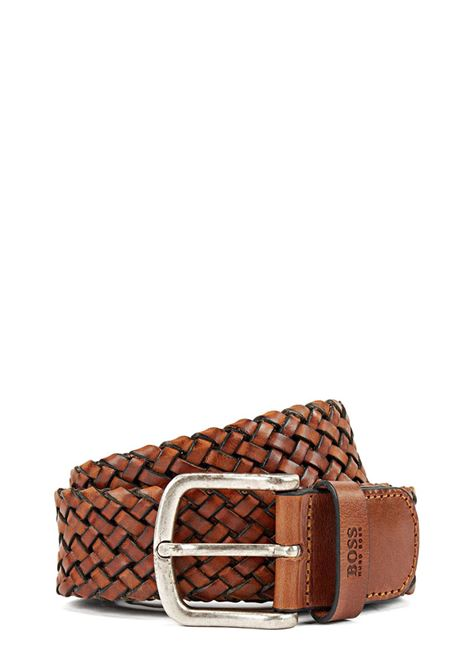 Woven leather belt with logo printed loop BOSS | Belts | 50430043210