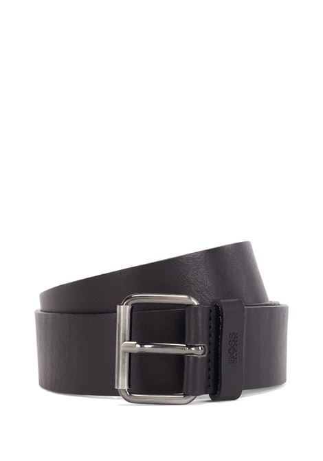 Cintura in pelle nera con fibbia canna di fucile BOSS | Cinture | 50435466001