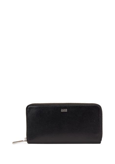 Wallet in worked leather with zip closure BOSS | Wallet | 50441921001