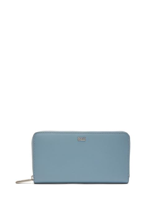 Wallet in worked leather with zip closure BOSS | Wallet | 50441921450