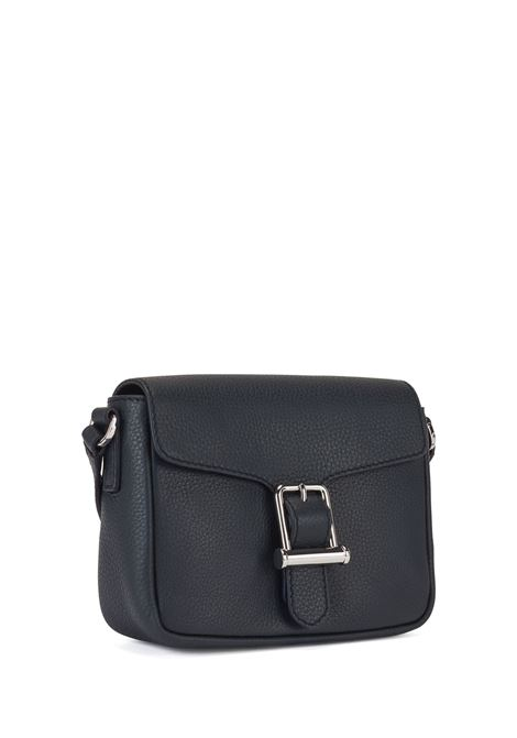 Shoulder bag in blue textured leather with buckle BOSS | Crossbody bags | 50441927401