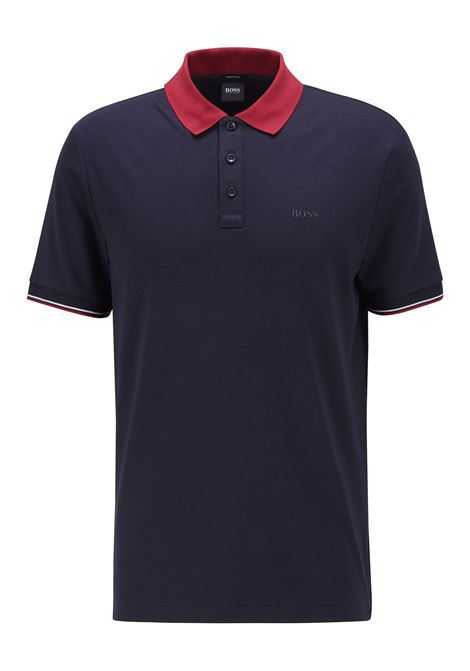 Striped polo shirt in mercerized cotton with contrasting collar BOSS | Polo Shirt | 50443820402