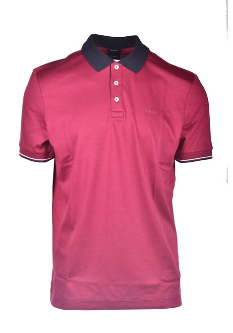 Striped polo shirt in mercerized cotton with contrasting collar BOSS | Polo Shirt | 50443820609