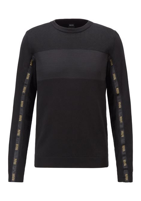 Organic cotton sweater with black and gold logoed ribbon BOSS | Knitwear | 50446968001