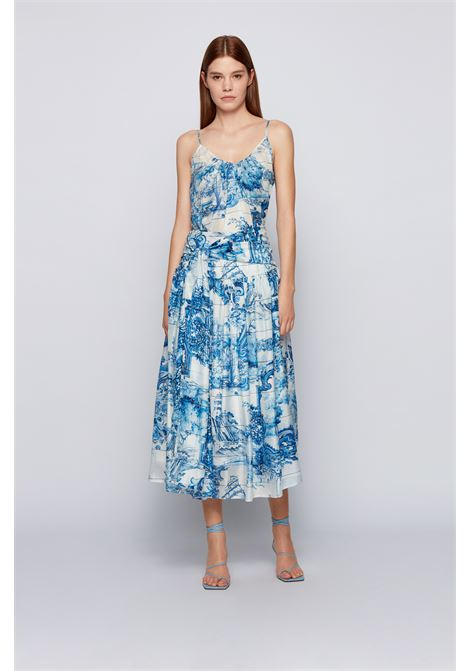 Ruffled skirt in printed silk with bow BOSS | Skirts | 50447568976