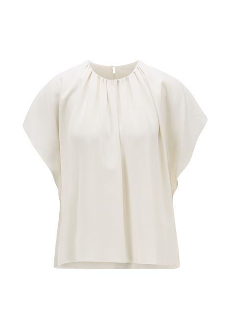 Blouse with draped neckline in Italian crêpe with satin reverse BOSS | Tops | 50447571118