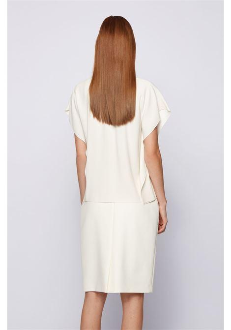 Blusa con scollatura drappeggiata in crêpe italiano con rovescio in raso BOSS | Tops | 50447571118
