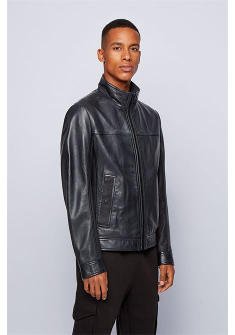 Nappa biker jacket with mixed finishes BOSS | Jackets | 50448034001