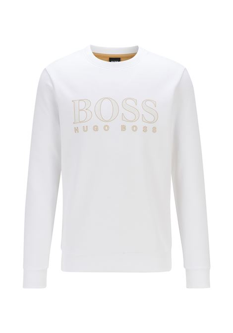 Slim fit sweatshirt in woven cotton blend with printed logo BOSS | Sweatshirt | 50448186100