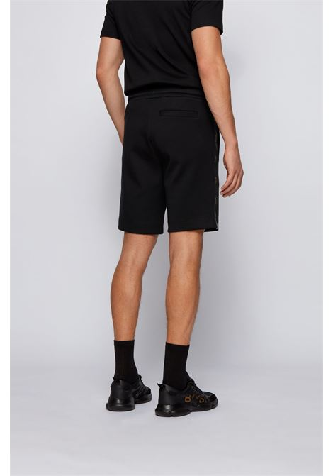 Cotton blend bermuda shorts with golden logo BOSS | Shorts | 50448199001