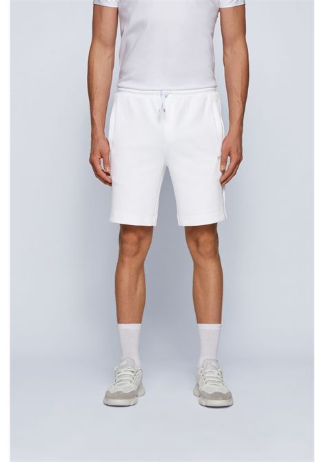 Cotton blend bermuda shorts with golden logo BOSS | Shorts | 50448199100