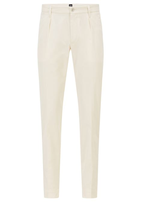 Slim-fit trousers in paper-touch cotton poplin BOSS | Pants | 50448750118