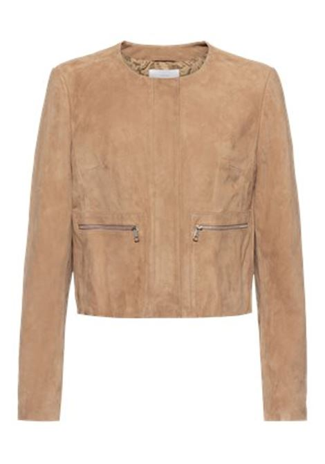 Collarless short biker jacket in suede BOSS | Jackets | 50448785262