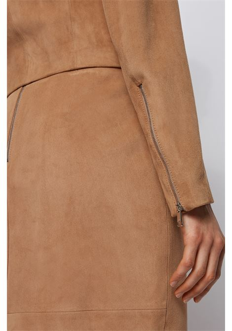 Collarless short biker jacket in suede BOSS | Jackets | 50448785262