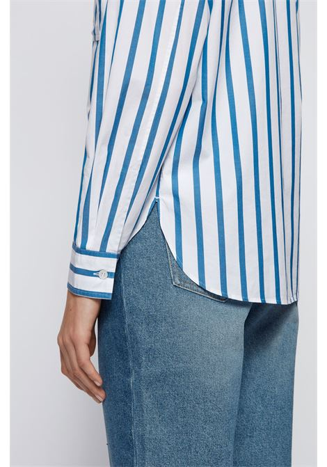 Relaxed fit blouse in striped stretch cotton poplin BOSS | Blouses | 50448821476