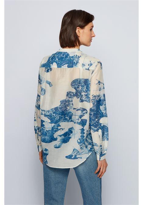 Camicetta relaxed fit in misto cotone e seta stampato BOSS | Bluse | 50448832976